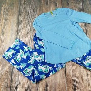 New HUE blue fleece pajama set